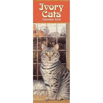 Ivory Cats Vertical Wall Calendar, Fine Art by Flame Tree Publishing