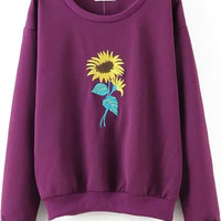 Purple Sunflower Embroidered Long Sleeve Sweatshirt