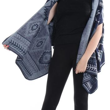 Navy Blue Aztec Pattern Shawl Vest