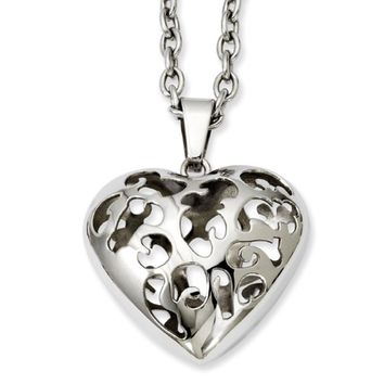Stainless Steel Cutout Puffed Heart Necklace - 20 Inch