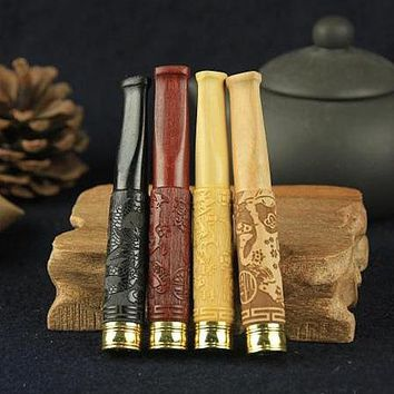 New Arrival Wood Smoking Pipe Tobacco Pipe Solid Wood Filter Pipe Carved Animals Birds
