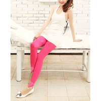 Women Deep Pink Cotton Blends Leggings