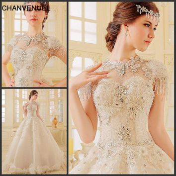 LS80123 2018 new arrival wedding gowns luxury  wedding dress with crystals ball gown high neck short sleeve vestido de noiva