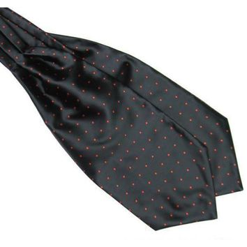 Men's Black & Red Polka Dot Ascot/Cravat Tie