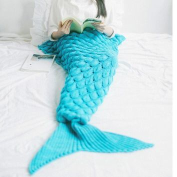 Fish scales style pattern mermaid rug fish tail tapestry cotton sofa rug carpet blanket