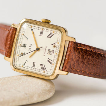 Classical lady's watch Dawn, square lady wristwatch, gold plated watch rare, women watch gift, minimal lady watch, genuine leather strap new