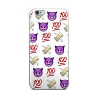 Purple Devil 100 & Cash Money With Wings Emoji Collage Cute Girly Girls White iPhone 4 4s 5 5s 5C 6 6s 6 Plus 6s Plus 7 & 7 Plus Case