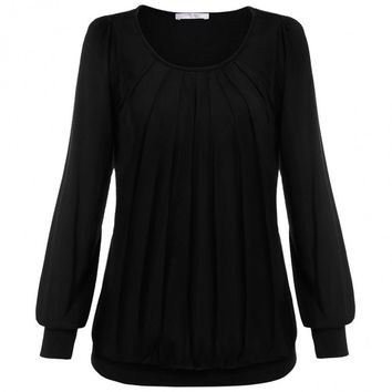 Women Long Sleeve Scoop Neck Front Drape Casual Blouse Shirt Top