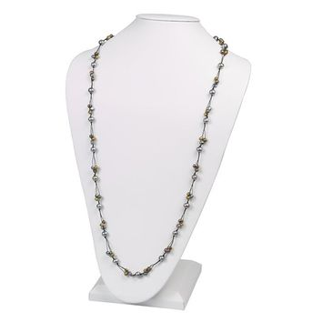Black Cord Triple Strand Multi Color Freshwater Pearl Necklace - 34 Inches