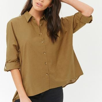 Button-Front High-Low Shirt