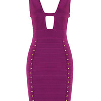Studded Outline Halter Bandage Dress