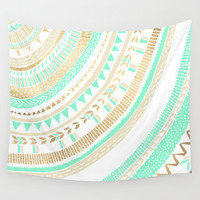 Mint + Gold Tribal Wall Tapestry by Tangerine-Tane