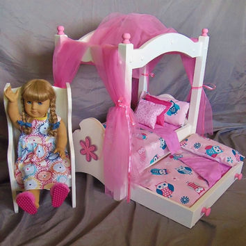 American Girl Doll: doll canopy bed, trundle bed and windsor chair with our new pink owl bedding material - 13 pieces