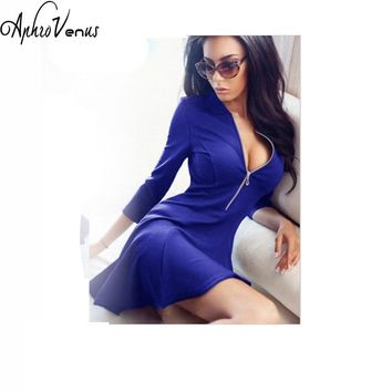 2017 Spring Summer Fashion Ladies Pleated Dress Women Sexy V-Neck Party Mini Dress Casual 3/4 Sleeve Chest Zipper Solid Dresses