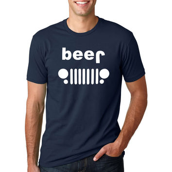 Funny Drinking Beer Off Roading Printed T-Shirt Men'sShort Sleeve O-Neck TShirt