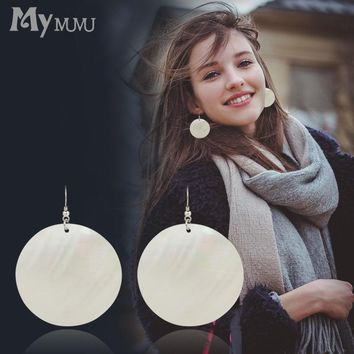 Mymumu jewelry earrings female round shells long eardrop exaggerated temperament hipster hanging earrings z160