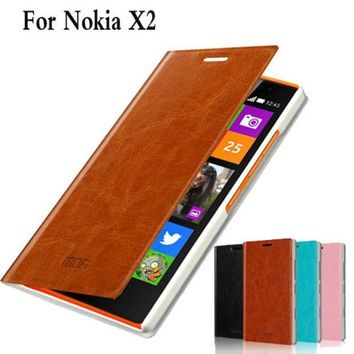ICIKHY9 Phone Case Cover For Nokia X2 X2 Dual SIM RM-1013 Cell Phone Case For Nokia X2DS Luxury Flip Leather Case Cover For Nokia X2