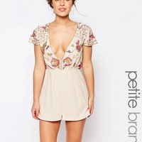 Maya Petite | Maya Petite Romper With Embellished Top And Plunge Neck at ASOS
