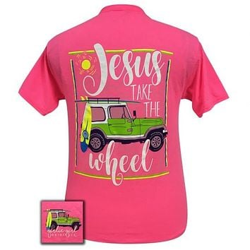 Girlie Girl Preppy Jesus take the wheel Jeep T-Shirt