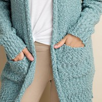 Aspen Knit Pocket Cardigan | Aqua | Plus