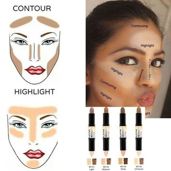 Makeup Creamy Double ended 2 In1 Contour Stick Contouring Highlighter Bronzer Create 3d Face Makeup Concealer Full Cover Blemish Ce1814