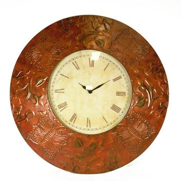Antique Metal Wall Clock, Bronze-Benzara
