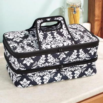Food Carrier Insulated Hot/Cold Large Expandable Handles Potluck Parties Layered