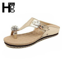 HEE GRAND 2017 New Flip Flops Fashion Solid Women Shoes With Crystal Woman Shoes Summer Slides XWZ475