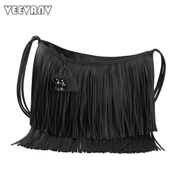 Large Capacity Female Tassel Fringed Leather Women Messenger Bags Shoulder Crossbody Bags Fashion Ladies Handbags Bolsa Feminina