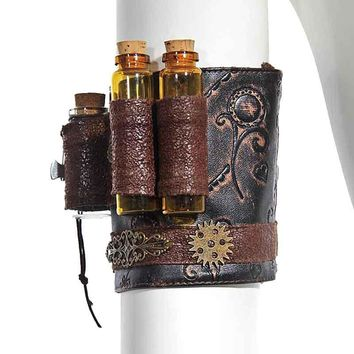 Retro Punk Brown PU Leather Copper Gearwheel Floral Carving Steampunk Armband Arm Belt Gothic Corset Cosplay Costume Accessories