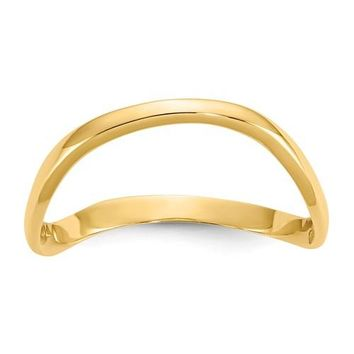 14K Gold 3mm Wide Curved Wave Thumb Ring - White Yellow or Rose