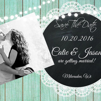 4x6 Weding Save the Date Mint Wood Rustic lace chalkboard card with string of lights rustic vintage shabby chic photo printable invitation