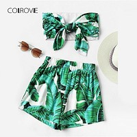 COLROVIE Leaf Print Random Bow Tie Crop Bandeau Top With Shorts 2018 Summer Sleeveless Woman Sets Knot Tropical Two Piece