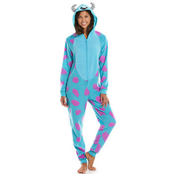 Disney / Pixar Monsters, Inc. Sulley Hooded Microfleece One-Piece Pajamas - Juniors