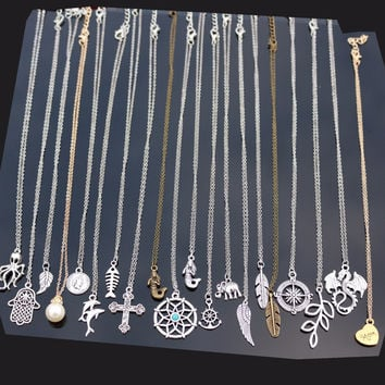 20 new Style One Direction Exo Collares Men Love Vintage Silver Plated Cross Fish Heart Short Necklace For Women Chain Jewelry