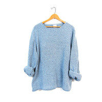 Nubby Knit Sweater Slouchy Cropped Minimal Basic Blue White Speckled Shirt Plain Slouchy Long Sleeve Shirt Vintage XXL 2XL