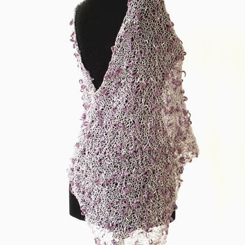 Summer knit poncho, fancy poncho sweater, knitted wrap, trend knitwear, knit wraps, multicolor trend, silver and purple poncho,