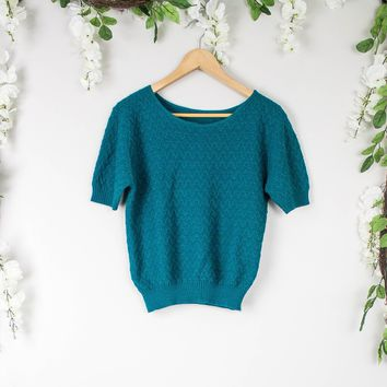 Vintage Knit Blue Blouse