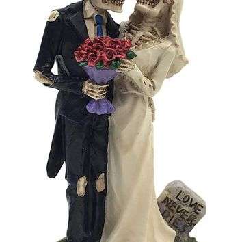 Skeletons with Tombstone Love Never Dies Day of Dead Wedding Cake Topper 6.5H