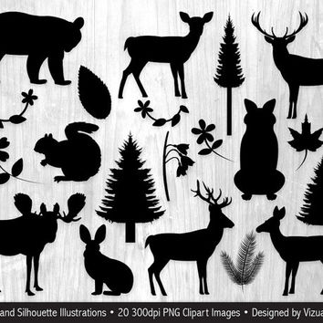 Woodland Silhouettes Clip Art, Woodland Clipart, Flower Silhouettes Clipart, Leaf Silhouettes, Forrest Animal Silhouettes, Plant Silhouettes