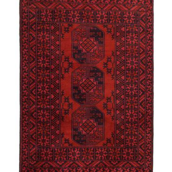 3x5 Overdyed Vintage Tribal Rug Red 2673