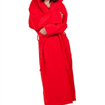 100% Turkish Cotton Adult Hooded Terry Velour Robe - Red - Adult - One Size