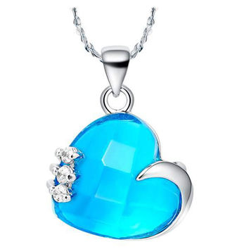 Heart Crystal Accessories 925 Silver Necklace = 5839547265