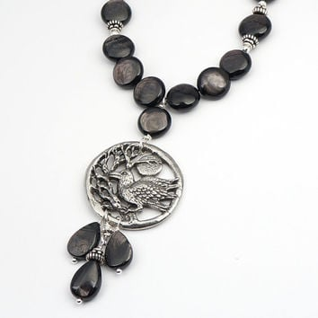 Black raven necklace, hypersthene stone, crow with tree and moon, bird jewelry 21 inches 54cm