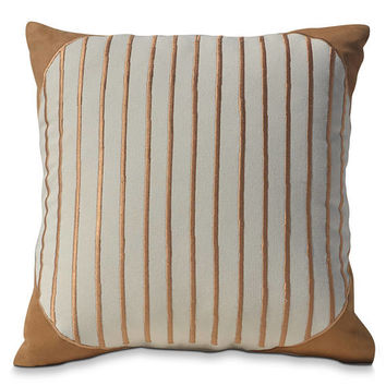 Gift For Dad, Man Cave Decor, Geometric Pillow Cover, Cotton Pillows, Ivory Pillow, Tan Suede Pillows, Stripes Pillow, Housewarming Gift
