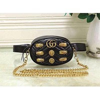 Gucci Black Waist Bag With Shoulder Bag Fasion Small Bag Lion head-Cute Cicada bag