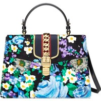 Gucci Medium Sylvie Floral Top Handle Velvet Shoulder Bag | Nordstrom