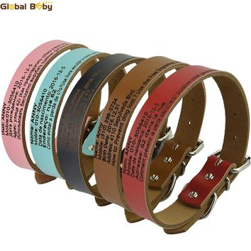 Hot Sale Global Baby Cow Leather Preventing Lost Personalized Customized Dog Pet Cat Engraved Collar