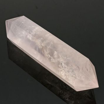 Newest 100% Natural Pink Rose Crystal Quartz Stone Point Double Terminated Wand Healing Gemstone Home Decor DIY Crafts 70-90MM