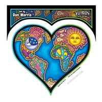 World Map Heart Window Sticker on Sale for $2.99 at HippieShop.com